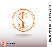 orange dollar icon on a...