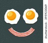 smiling breakfast. two fried... | Shutterstock .eps vector #395923069