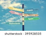 europe countries and  signpost... | Shutterstock . vector #395928535