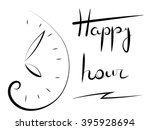 happy hour. clock image and the ... | Shutterstock .eps vector #395928694