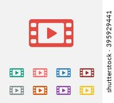 set of  red video vector icon ...