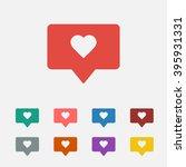 set of  red like follower... | Shutterstock .eps vector #395931331