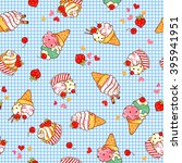 ice cream illustration pattern | Shutterstock . vector #395941951