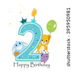 second birthday greeting card.... | Shutterstock .eps vector #395950981