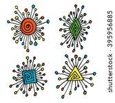 abstract hand drawn cartoon sun ... | Shutterstock .eps vector #395956885