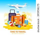 travel to world  flat design... | Shutterstock .eps vector #395958175
