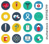 flat icons set of medical tools ... | Shutterstock .eps vector #395958799