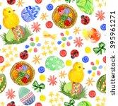 easter seamless pattern.... | Shutterstock . vector #395961271