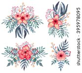 set of watercolor bouquets with ... | Shutterstock . vector #395978095