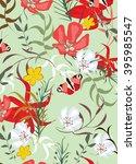 flower floral seamless pattern...   Shutterstock .eps vector #395985547