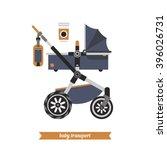 reclining stroller for newborns.... | Shutterstock .eps vector #396026731