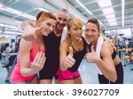 group of friends with thumbs up ... | Shutterstock . vector #396027709