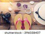 travel accessories summer... | Shutterstock . vector #396038407