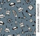 childish seamless space pattern ... | Shutterstock .eps vector #396039115