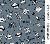 childish seamless space pattern ... | Shutterstock .eps vector #396039115