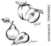 set of vintage images of fruits ... | Shutterstock .eps vector #396040861