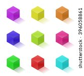 set of nine colorful bright... | Shutterstock .eps vector #396058861