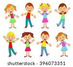 boys and girls smiling... | Shutterstock .eps vector #396073351