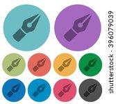 color vector pen flat icon set...