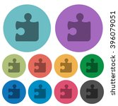 color puzzle flat icon set on...