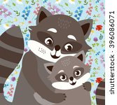 cute raccoon family. mother and ... | Shutterstock .eps vector #396086071