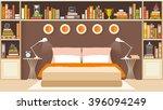 bedroom interior with furniture ... | Shutterstock .eps vector #396094249