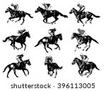 racing horses and jockeys...