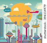 futuristic city scene. vector... | Shutterstock .eps vector #396114979