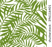 seamless tropical leaf pattern. ... | Shutterstock .eps vector #396116401