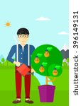 man watering tree with light...   Shutterstock .eps vector #396149131
