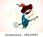 spooky halloween witch holding... | Shutterstock .eps vector #39614992