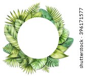 tropical leaves. watercolor... | Shutterstock . vector #396171577