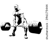 powerlifter with barbell... | Shutterstock .eps vector #396175444
