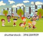 little kids playing slide ... | Shutterstock .eps vector #396184909