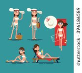 cool vector set of female... | Shutterstock .eps vector #396186589