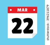 calendar icon flat march 22