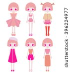 Set Of Simple Pink Girl Outfits
