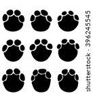 black print paws of elephant ... | Shutterstock .eps vector #396245545