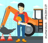 engineer with hard hat and... | Shutterstock .eps vector #396284119