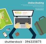 flat design of online booking... | Shutterstock .eps vector #396335875