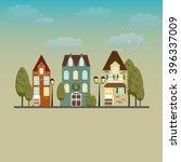 colorful vintage victorian city.... | Shutterstock .eps vector #396337009
