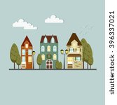 colorful vintage victorian city.... | Shutterstock .eps vector #396337021