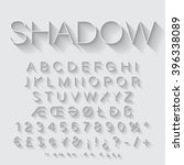 thin line alphabet with shadow. | Shutterstock .eps vector #396338089
