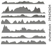 vector set of gray mountain...   Shutterstock .eps vector #396342604