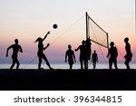 silhouette of beach volleyball...   Shutterstock . vector #396344815