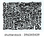 hand drawn of world word cloud... | Shutterstock .eps vector #396345439