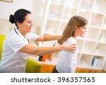 chiropractor doing adjustment... | Shutterstock . vector #396357565