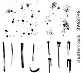 set of ink splashes and brushes ...   Shutterstock .eps vector #3963748