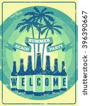 typographic summer beach party... | Shutterstock .eps vector #396390667