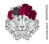 lion wearing a crown of flowers.... | Shutterstock .eps vector #396399451